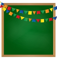 Flag garland on blackboard vector
