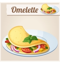 Omelette with vegetables detailed icon vector