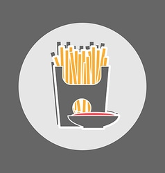 French fries packet with saucer of ketchup vector