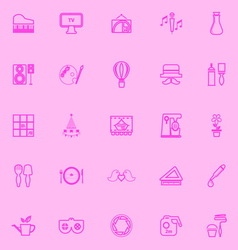 Art activity pink line icons vector