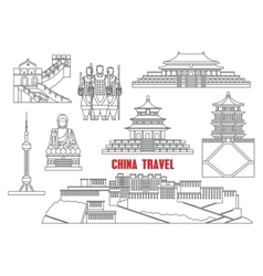 China landmarks thin line icons vector