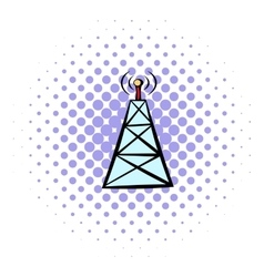 Cell phone tower icon comics style vector