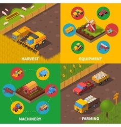 Agricultural machinery 4 isometric icons square vector