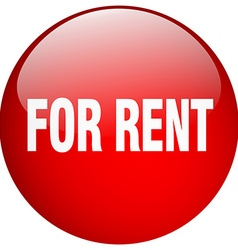 For rent red round gel isolated push button vector