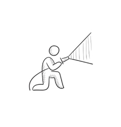 Fireman spraying water sketch icon vector image