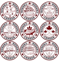 Canadian hockey stamp set vector