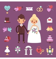 Bride groom wedding set vector