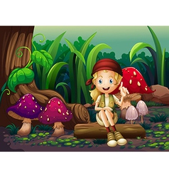 A girl sitting on a wood with mushrooms vector image