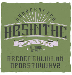 absinthe label font and sample label design vector image