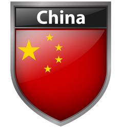 Badge design for flag of china vector