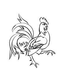 Black sketch drawing of an cock vector image