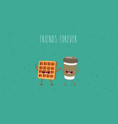 Breakfast funny characters coffee croissant vector