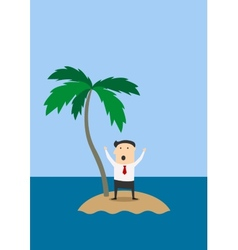 Businessman marooned on a tropical island vector