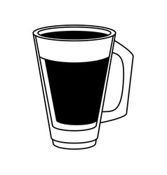 Coffee beverage in glass cup icon imag vector