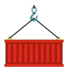 Container lifted by a crane icon flat style vector