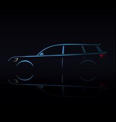 Design blue estate car on black background vector