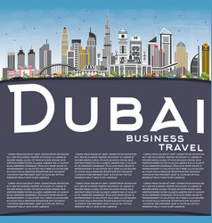 dubai uae skyline with gray buildings blue sky vector image vector image