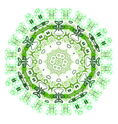 Ethnic colorful ornament abstract green mandala vector