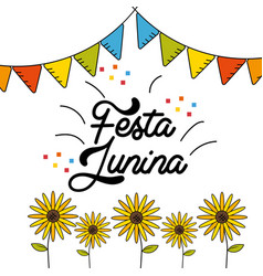 festa junina with flags party design and vector image vector image