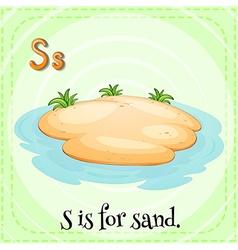 Flashcard alphabet s is for sand vector