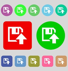 Floppy icon flat modern design 12 colored buttons vector