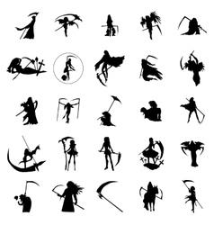 Grim reaper woman silhouettes set vector
