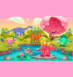 Group of funny dinosaurs in a natural landscape vector