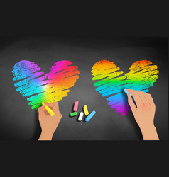 hands drawing rainbow colored hearts vector image