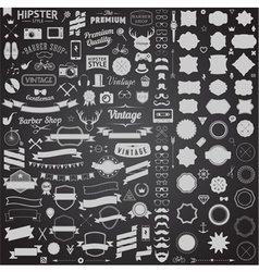 Huge set of vintage styled design hipster icons vector