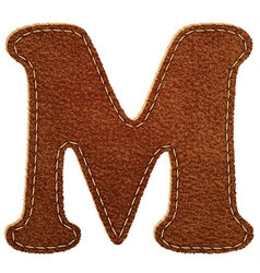Leather textured letter m vector