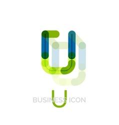 Minimal U font or letter logo design vector image