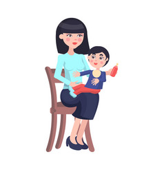 mother feeds baby boy with bottle on her lap vector image vector image