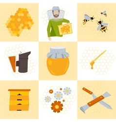 Nine icons beekeeping products vector image vector image