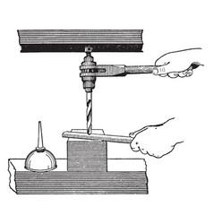 Ratchet drill vintage vector