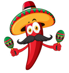 red chili wearing hat and shaking maracas vector image vector image