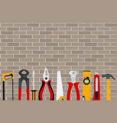 Repair tools and instruments on brick wall vector