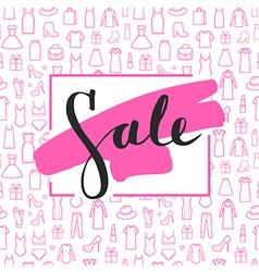 Sale lettering on brushstroke on seamless pattern vector