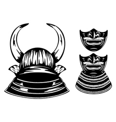 samurai helmet with horns and mempo vector image vector image