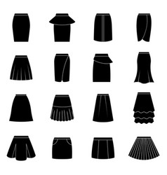 set of black skirts vector image