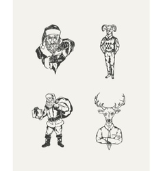 Set of drawn Santa Claus and deer vector image