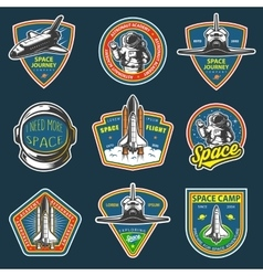 Set of vintage space and astronaut badges vector