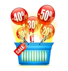 Shopping Basket with Sale Anouncement vector image vector image