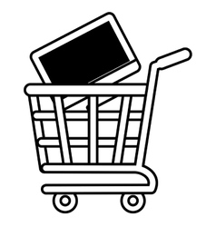 Shopping cart online computer digital black screen vector