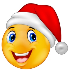 Smiling smiley emoticon in a santa hat vector image vector image