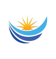 Water wave loop sun abstract logo vector