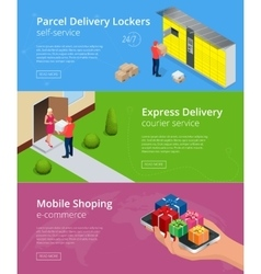 Web banners isometric parcel delivery lockers vector