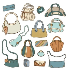 Womens handbags Hand drawn Set vector image vector image