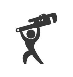 Wrench and pictogram silhouette icon tool design vector