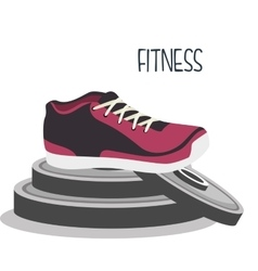 Cartoon sneakers fitness sport elements design vector