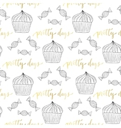 Cupcakes and candy seamless pattern Sweets vector image